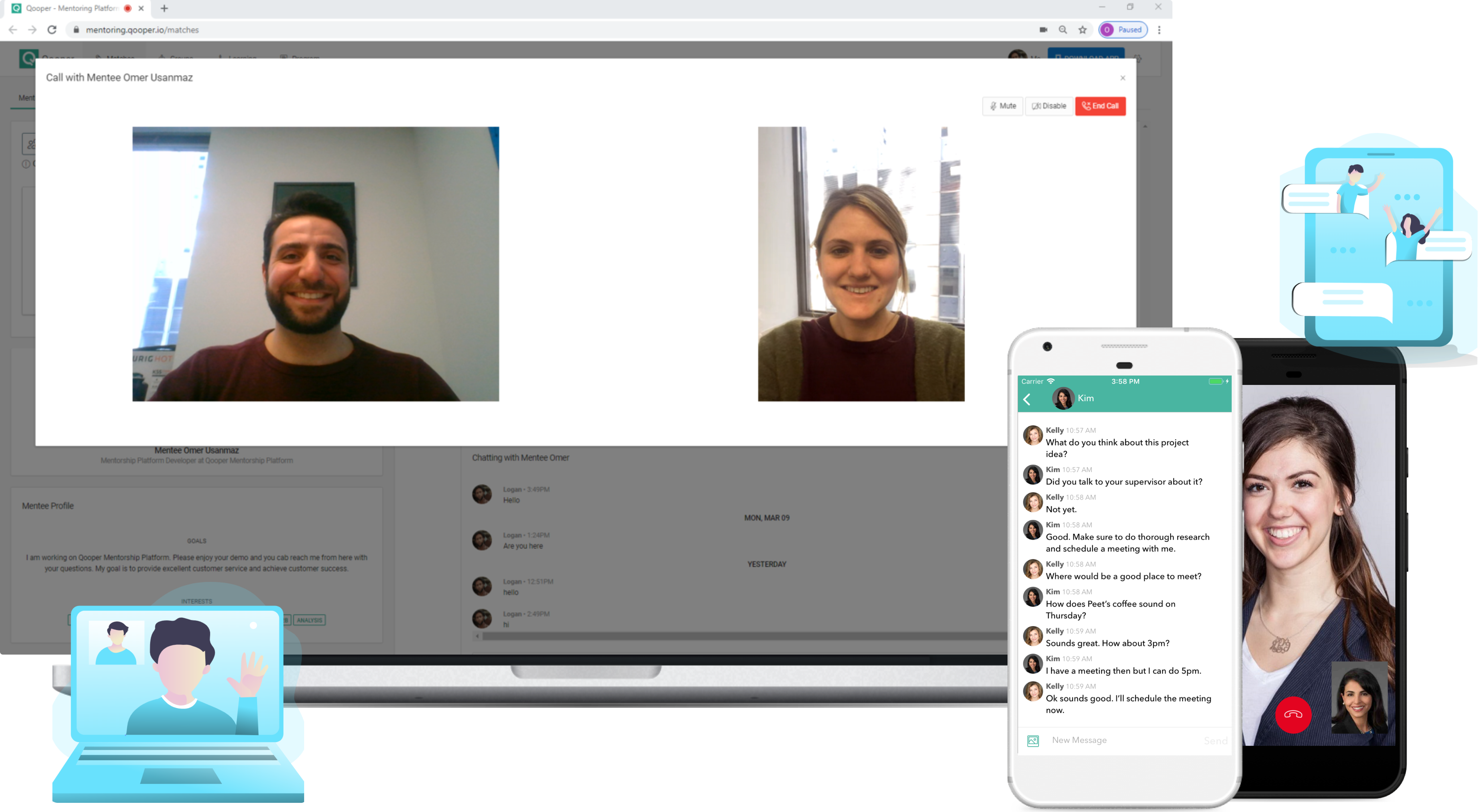 live chat video call virtual mentoring